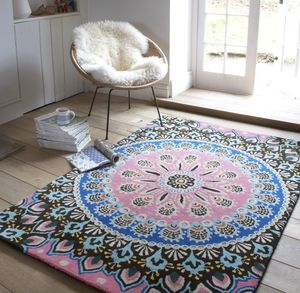 Nomadic Pink And Blue Patterned Rug - rugs & doormats