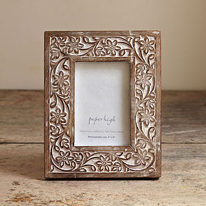 Antique Look Flower Photo Frame - picture frames