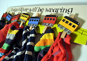 Personalised Train Wooden Clothes Peg Board - hooks, pegs & clips