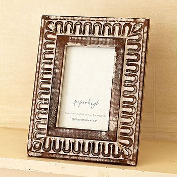 Antique White Carved Photo Frame