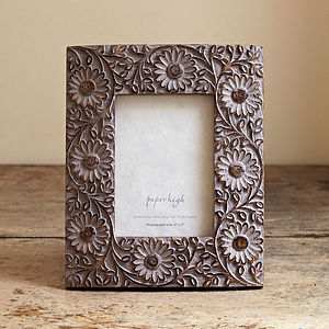 Antique Grey Flower Photo Frame - picture frames
