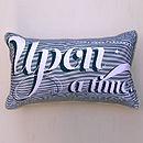 Petrol blue with grey piping - Once Upon A Time Cushion