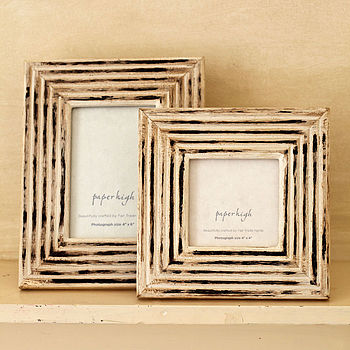 Antique White Hand Carved Photo Frame