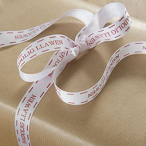 Welsh Christmas Gift Ribbon - finishing touches