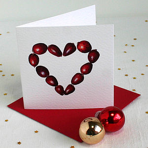 ' Cranberry Heart ' Christmas Cards, Pack Of Four