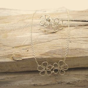 Daisy Necklace And Earrings Set - jewellery sets