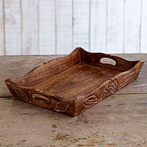 Natural Mango Wood Tea Tray - dining room