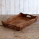 Hand Carved Wooden Tea Tray