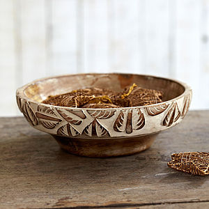 Natural Antique White Mango Wood Bowl - tableware