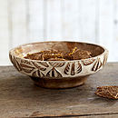 Natural Antique White Mango Wood Bowl