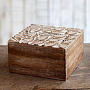 Fair Trade Natural Mango Wood Leaf Design Box