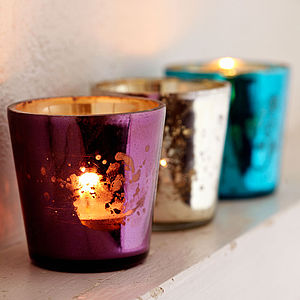 Fair Trade Tea Light Glasses Set Of Three - votives & tea light holders