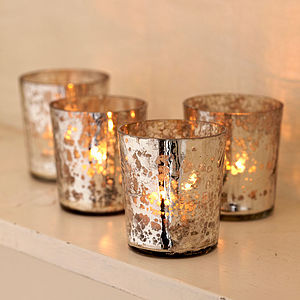 Antique Effect T Light Holders Set Of Four - candles & home fragrance