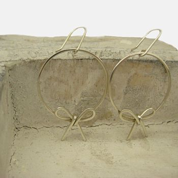Silver Bow Hoop Earrings