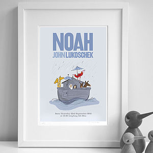 Personalised Boy's 'Noah's Ark' Print - pictures & prints for children