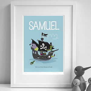 Personalised 'Pirate Ship' Print - pictures & prints for children