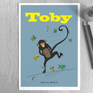 Personalised 'Monkey' Print - pictures & prints for children