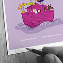 Personalised Girl's 'Noah's Ark' Print