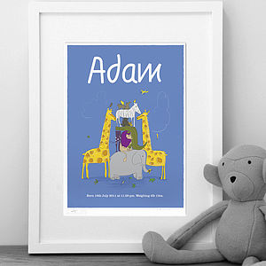 Personalised Boys 'Animals' Print - pictures & prints for children