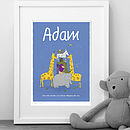Personalised Boys 'Animals' Print