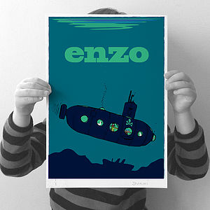 Personalised 'Submarine' Print - pictures & prints for children