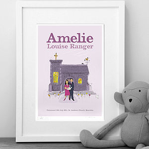 Personalised Girls 'Christening' Print