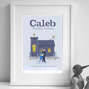 Personalised Boys 'Christening' Print - pictures & prints for children