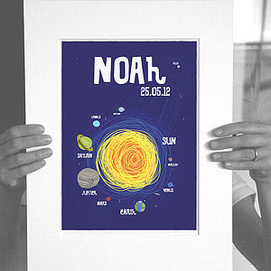 Personalised 'solar System' Print - pictures & prints for children