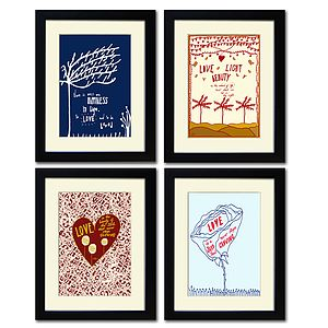 Set Of Two Or Set Of Four Love Prints A4 Size