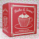 Tea Cup Cake Moulds Box, Vintage Red