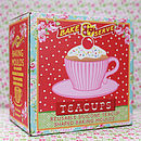Tea Cup Cake Moulds Box, Paisley Pink