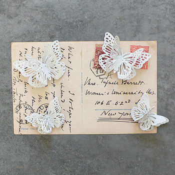 White Metal Patterned Butterfly Magnet