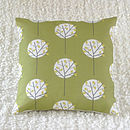 Tree Cushion Cover Olive Green Square 40cm x 40cm