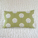 Tree Cushion Cover Olive Green Bolster 30cm x 50cm