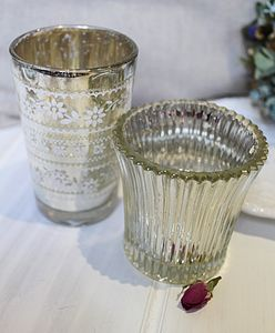 Vintage Silver Leaf Glass Tea Lights - lights & candles
