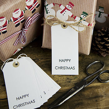 Pack Of Ten 'Happy Christmas' Gift Tags