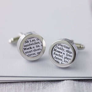 Personalised Dictionary Definition Cufflinks - practical & personalised