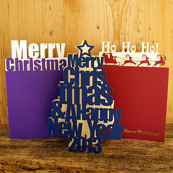 Pack Of Three Lasercut Christmas Cards
