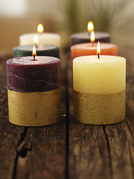 St Eval Gold Half Dipped Pillar Candle Set