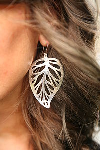 Solid Silver Leaf Earings - earrings