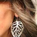 Solid Silver Leaf Earings