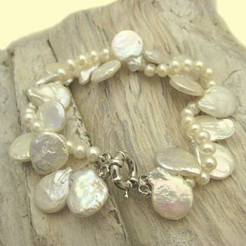 Pearl Coin And Strand Bracelet