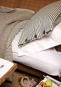Organic Ticking Cotton Duvet Cover Set - bedroom