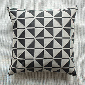 Black Patterned Linen Cushion Cover - cushions
