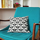 Black Patterned Linen Cushion Cover