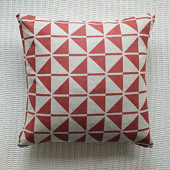 Dark Orange Patterned Linen Cushion Cover