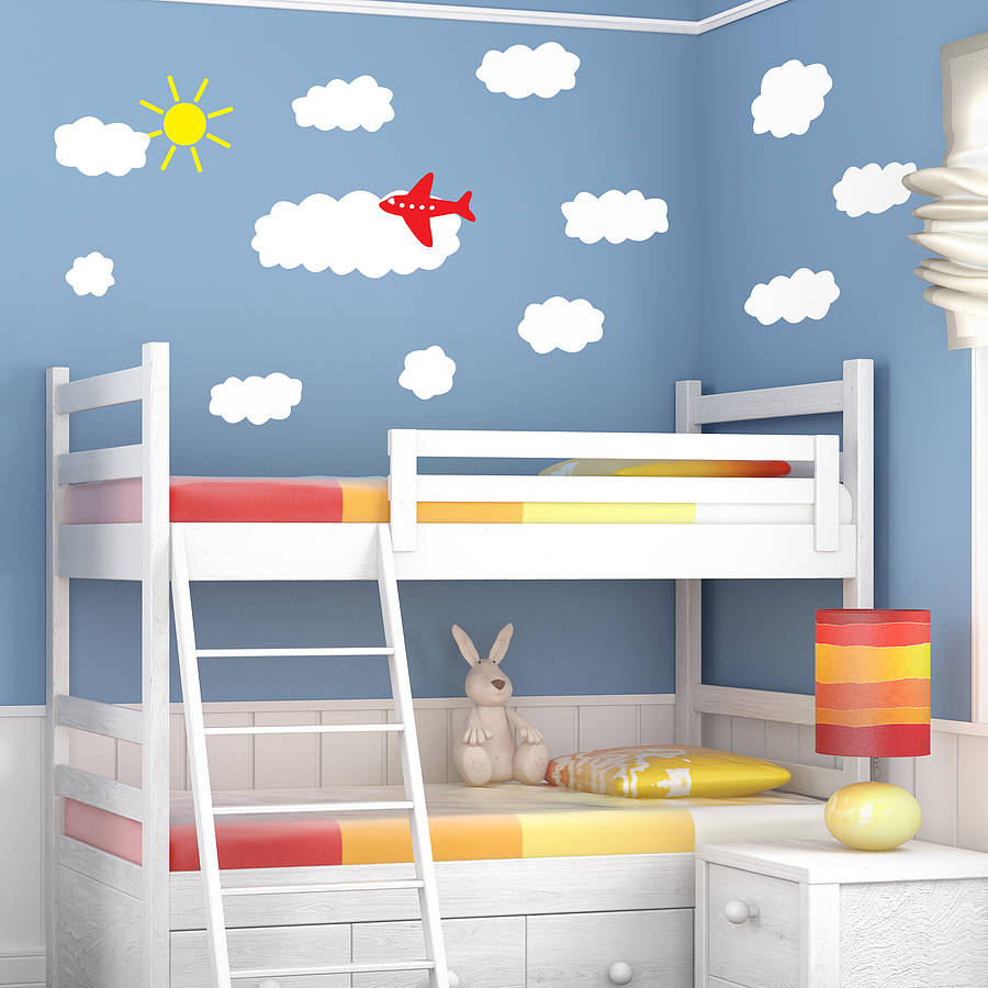 Cloud And Plane Wall Sticker Set Part 52