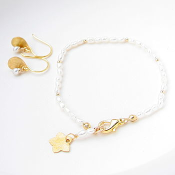 Handmade Freshwater Pearl And Gold Set