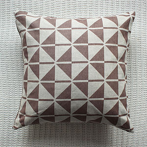 Patterned Linen Cushion Cover In Beige - bedroom