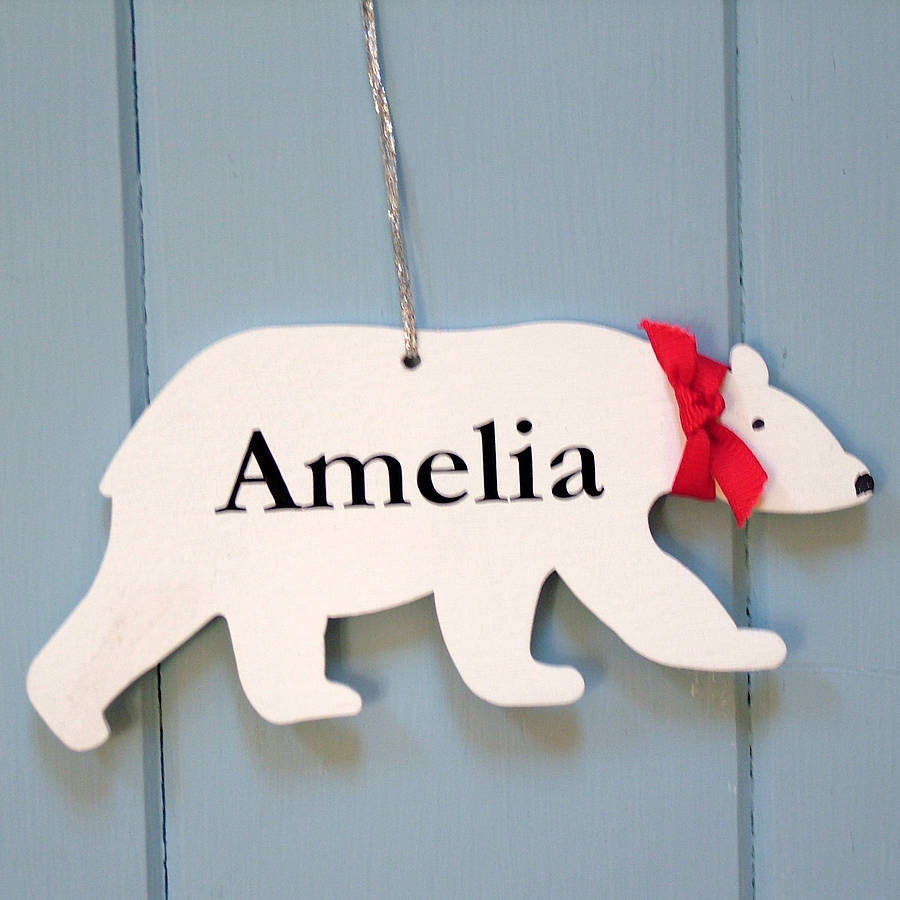 personalised christmas polar bear decoration by seahorse